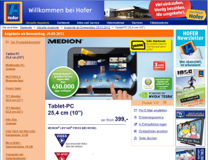 Hofer Medion LifeTab  P9516 (MD 99100) 399 Euro
