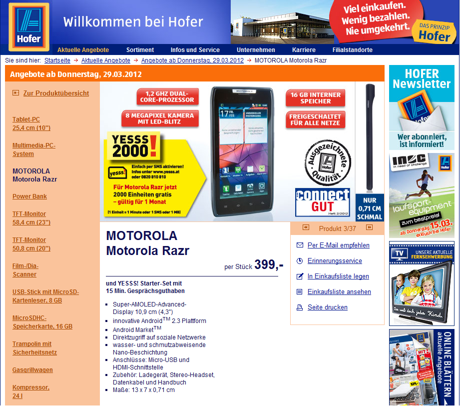 Motorola Razr bei Hofer um 399 Euro